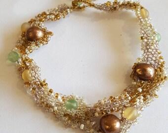 Freeform Peyote Bracelet - Sandy Beach - Freshwater Pearls with Delicate Freeform Hand Stitching
