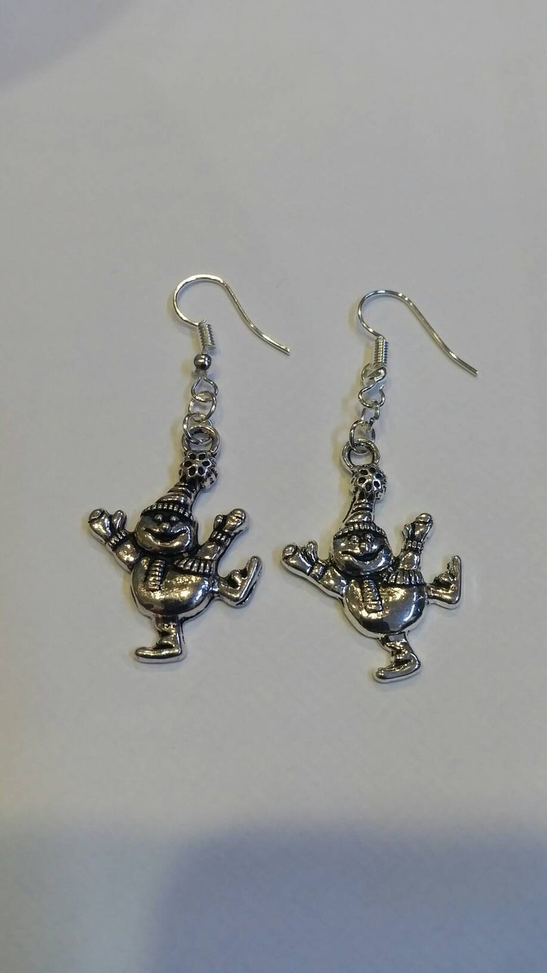 Christmas Earrings  Festive Earrings  large snowman earrings image 0