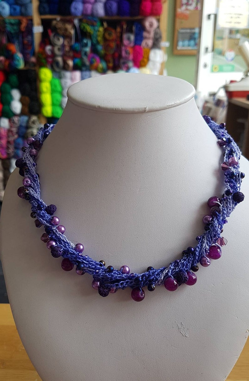 Purple necklace with magnetic clasp purple beaded necklace image 0