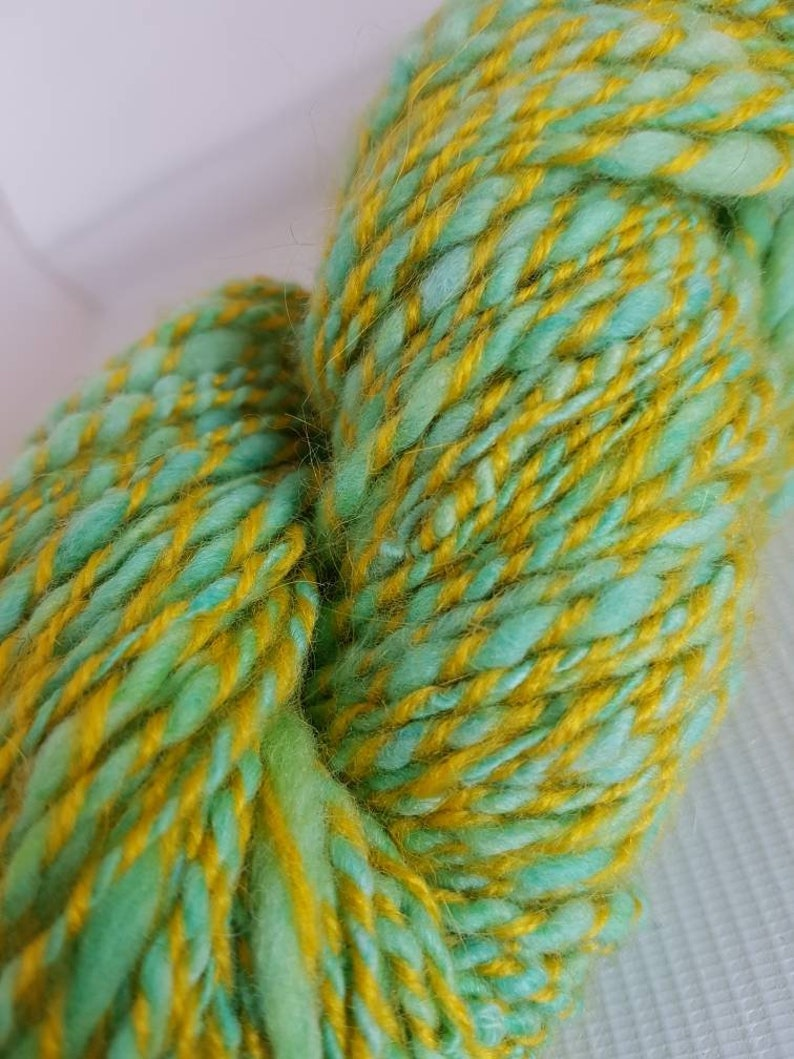 Spring handspun yarn  merino mohair acrylic blend bright image 0