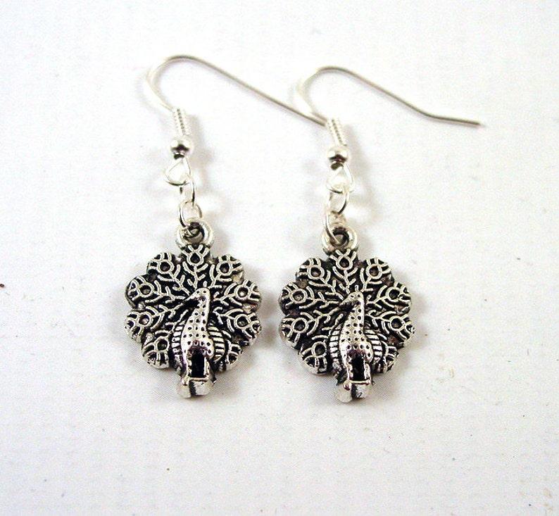Peacock Earrings  Silver Peacock Jewellery image 0