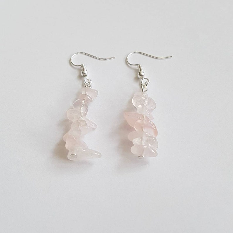 Rose Quartz Earrings pink Gemstone Earrings crystal image 0