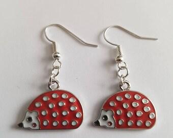 Hedgehog  Earrings - red hedgehog enamel  Earrings - red hedgehog earrings