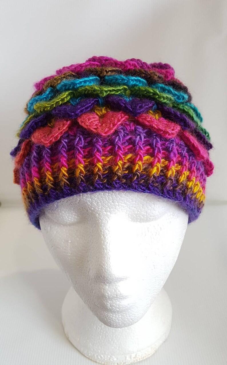 Adult Rainbow Fairy Hat Adult Dragon scale hat rainbow image 0