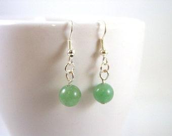 Green Aventurine Earrings - Green Gemstone Earrings - Green Earrings