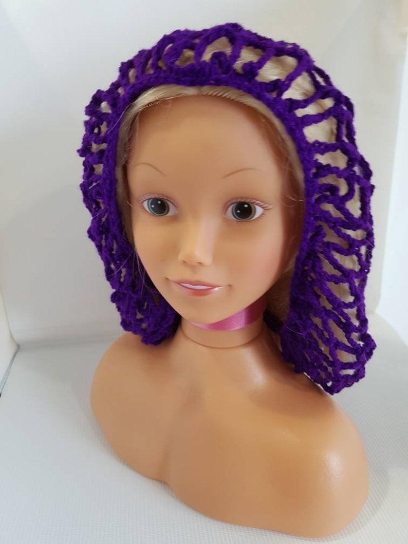 Purple crochet hair net   1940 vintage style hair net  image 0