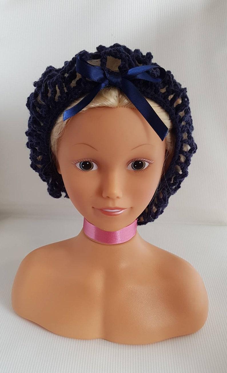 Navy blue crochet hair net   1940 vintage style hair net  image 0