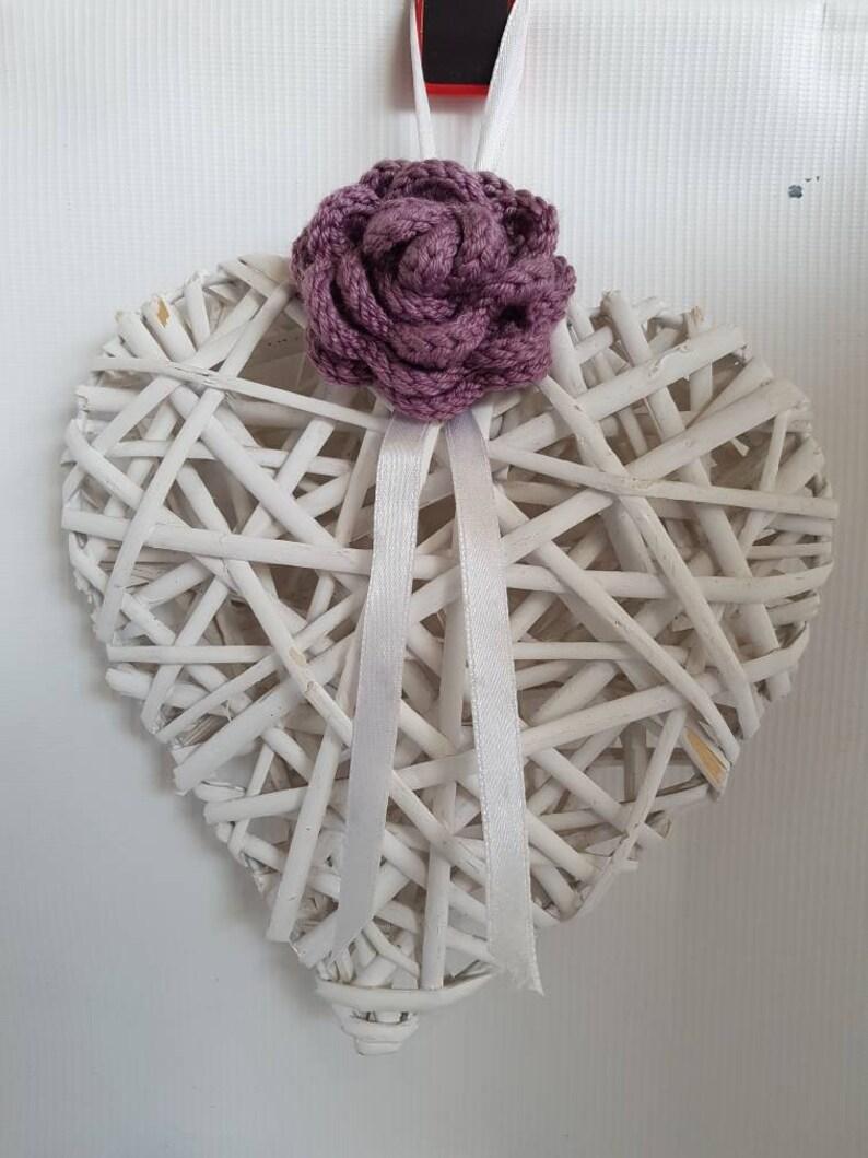 Shabby chic heart decoration  large heart hanging decoration image 0