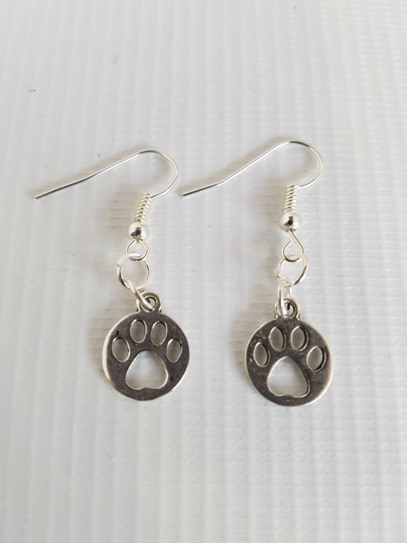 Paw print earrings  cat earrings   dog earrings image 0