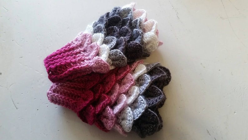 Pink fingerless Mittens  grey Dragon scale gloves  Mermaid image 0