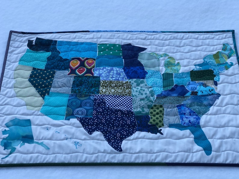USA Map Quilt   Etsy
