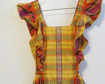 a92f1dcc8a Vintage Plaid Maxi Dress Ruffle Sleeve Sleeveless Boho Hippie Yellow Orange  Small