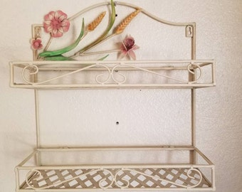Wonderful Vintage Metal Tole Floral Basket Weave Wall Hanging Mounted Toleware Shelf  Shelves Plants Succulents Shabby Cottage Chic French Home Decor