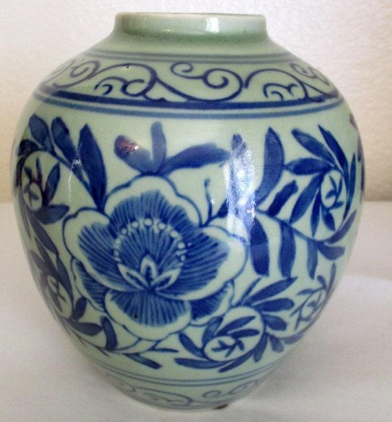 Vintage Chinese Korean Celadon Pottery Ginger Jar Blue Flowers Etsy