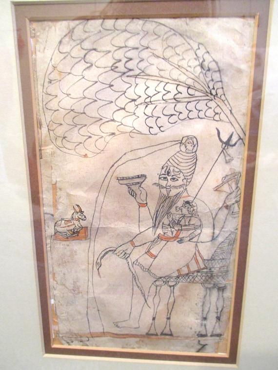 Vintage Indian Drawing Kotah Bundi Rajathstan Drawing Pen and Ink Miniature  Drawing on Paper Shiva Drinking Islamic Arts Ink on Paper