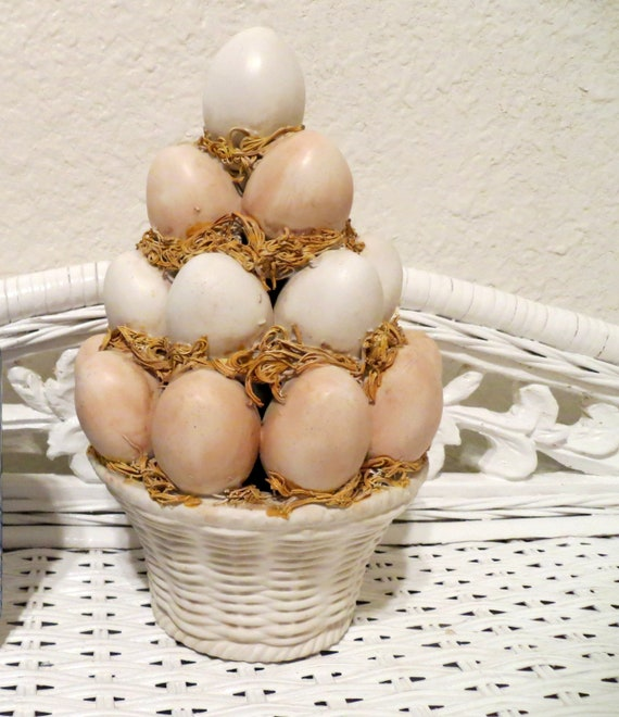 shabby chic easter decor on sale.htm vintage eggs in easter basket topiary pottery table etsy  vintage eggs in easter basket topiary