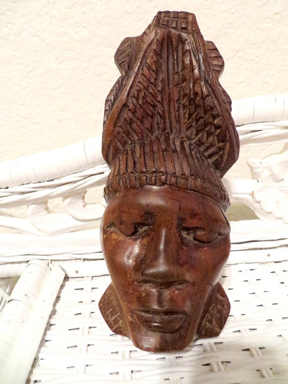 Vintage Tribal Face Mask Wood Carving African Tribal Wall Hanging Hand Carved Mask