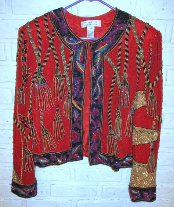 Vintage Heavily Beaded Jacket Red Gold Trophy Jack