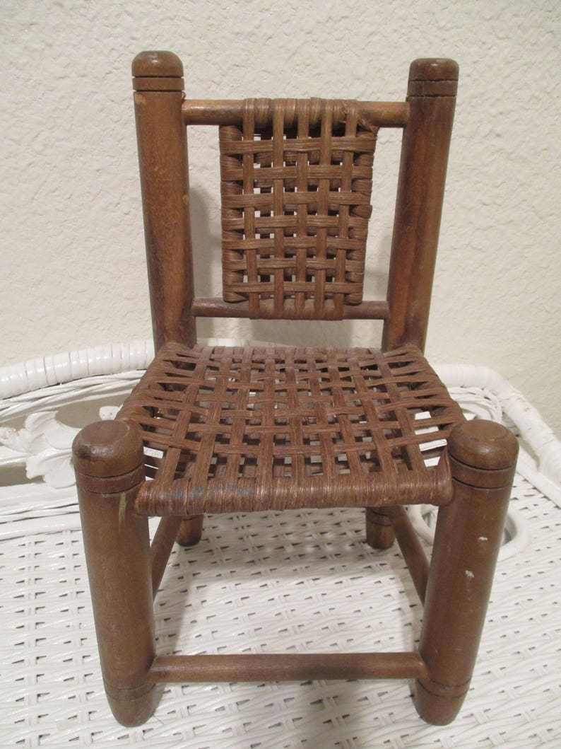 Vintage Doll Chair Woven Cane Seat Back Wooden Doll Sized Etsy