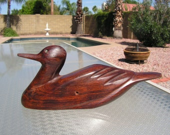 DUCK Wood Carving Hand Carved Wooden Duck Decoy Vintage Danish Modern