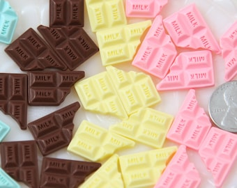 20mm Cute Multi Colored Chocolate Resin Flatback Cabochons - Pink, White, Blue, Chocolate Brown - 8 pc set