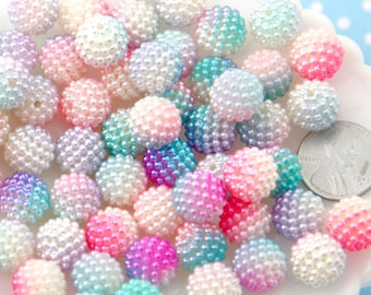 Berry Beads - 12mm Pastel Berry Beads Pearly Acrylic or Resin Beads - 50 pcs set