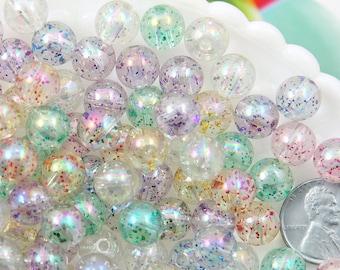 Glitter Beads - 10mm Transparent Glitter Acrylic or Plastic Beads - 80 pc set