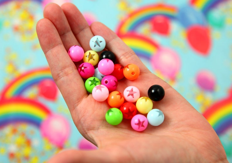 45 pcs set 12mm Amazing Bright Color Inlaid Star Bead Acrylic or Resin Beads Star Beads