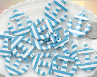 34mm Striped Anchors Resin Charms or Pendants - Blue - 6 pc set