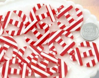34mm Striped Anchors Resin Charms or Pendants - Red - 6 pc set