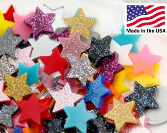 Star Resin Cabochons - 15mm Mini Stars Resin or Acrylic Cabochons - 20 pc set
