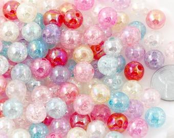 Pastel Beads - 10mm Crackle AB Iridescent Transparent Acrylic or Plastic Beads - 80 pc set