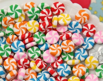 Candy Cabochons - 8mm Chunky Peppermint Swirl Candy Drop Clay or Resin Cabochons - 12 pcs set
