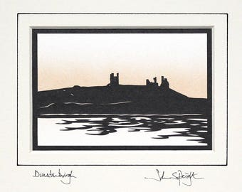 Dunstanburgh Castle Northumberland (viewed from North) Original Signed Hand Cut Papercut Art by John Speight - Gift for Him and Her