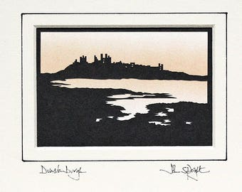 Dunstanburgh Castle Northumberland (viewed from South) Original Signed Hand Cut Papercut Art by John Speight - Gift for Him and Her