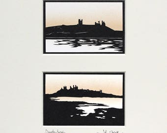 Dunstanburgh Castle Northumberland Pair Original Signed Hand Cut Silhouette Papercut Art by John Speight - Gift for Him and Her