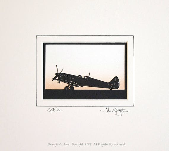Spitfire Aircraft Original Signed Hand Cut Silhouette Papercut Art by John Speight Gift for him by John Speight full plane version