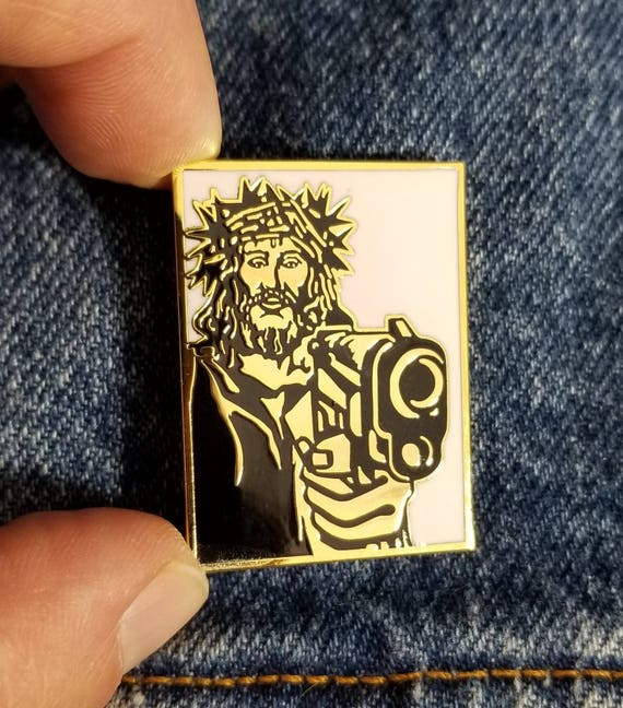 Gangsta Jesus lapel pin enamel,gun,limited  edition,funny,religion,america,guns,hat pin, backpack pin, skateboard  supreme,obey giant,vintage
