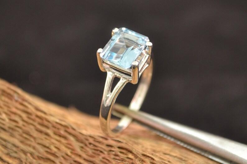 Blue Topaz Stone Ring Blue Topaz Statement Ring Topaz Gemstone image 0