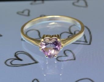 Amethyst Ring - Amethyst Heart Gemstone Ring - February Birthstone Ring - Amethyst Ring Size 7 Ring
