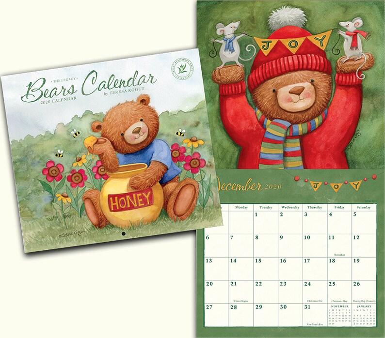 Ku Calendar 2020 Bear Calendar calendar 2020 calendar Teresa Kogut | Etsy