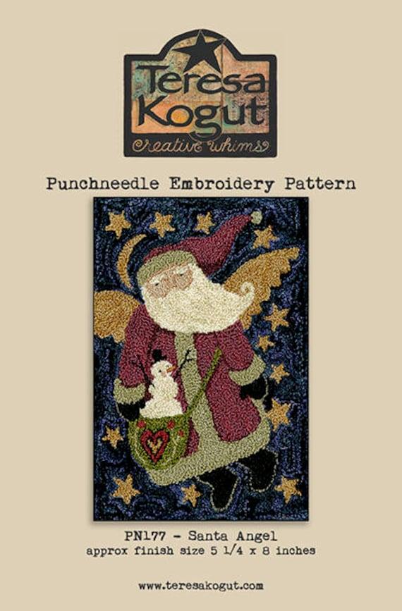 Ol/' Saint Nick PN191 Santa Reindeer Punchneedle Embroidery Teresa Kogut Pattern