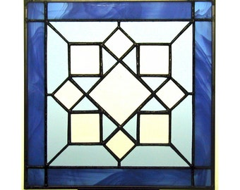 """June 12"""" X 12"""" Stained Glass """"Beveled"""" Quilt Block Pattern PDF B&W Digital Download"""