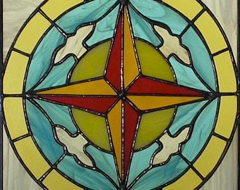 "12"" X 12"" Stained Glass ""Guidance"" Mandala Pattern PDF B&W Digital Download"