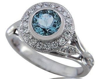 Radiant Aquamarine and White Gold Engagement Ring with Diamond Halo. Wedding Ring, blue