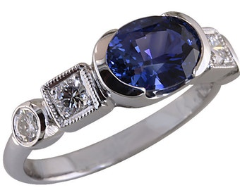 Beautiful Ceylon Blue Oval Sapphire and Diamond ring of white gold, Unique Engagement Ring or Wedding Band