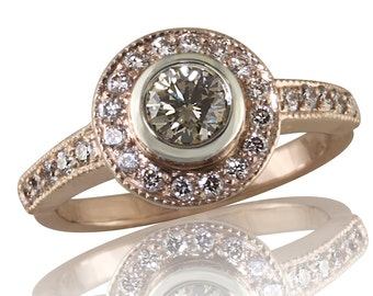 Rose Gold and Diamond Halo Style Engagement Ring With A Champagne Center Diamond