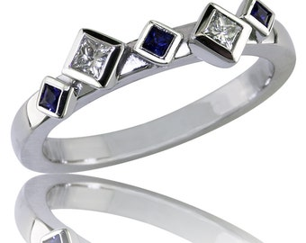 An Aysmetrical, Contemporary Ring of Princess Cut Blue Sapphires and Diamonds   Wedding Band  Stacking Unique, design by Karina Mattei