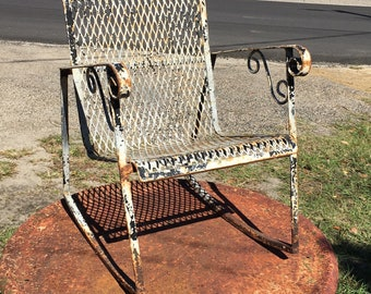 Mid Century Childu0027s Iron Rocking Chair, Metal Mesh Rocker, Rocking Chair,  Chippy White Small Rocking Chair, Farmhouse Porch Decor