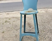 Blue Kitchen Metal Stool, Metal Chair, Tall Stool, Rustic Blue Plant Stand, Chippy Stool, Farmhouse Stool, Rustic Home Staging, Photo Prop